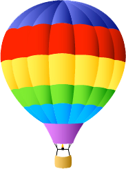 Seed Kindness Fund rainbow patterned hot air balloon